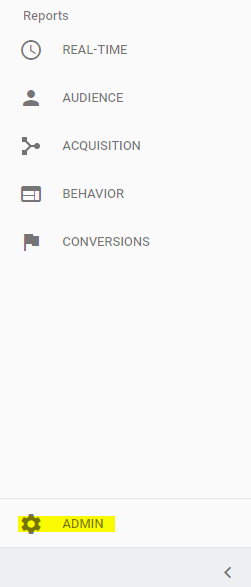 Admin Navigation Google Analytics