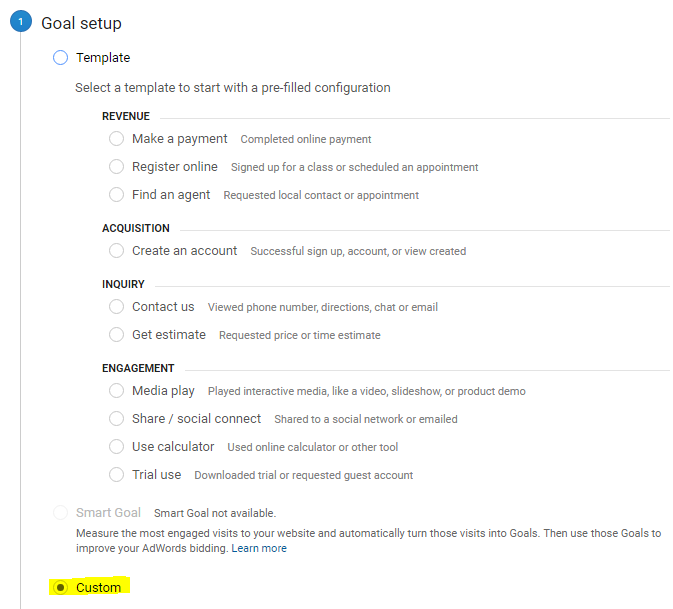 Goal Setup Google Analytics