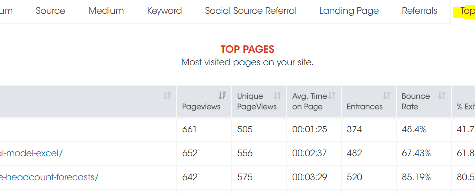 Top Pages in Google Analytics